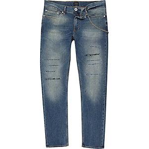 Sid – Dunkelblaue Skinny Jeans mit Zierkette