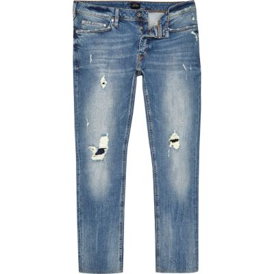 Dylan Middenblauwe wash distressed slim-fit jeans