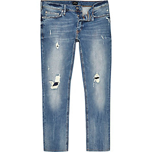 Mid blue wash distressed slim fit Dylan jeans