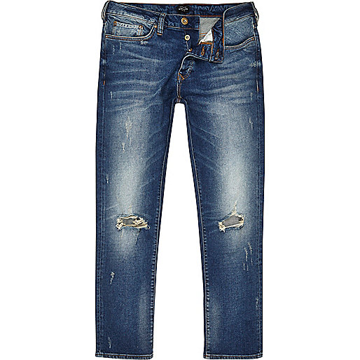 Blue ripped Dylan slim fit jeans