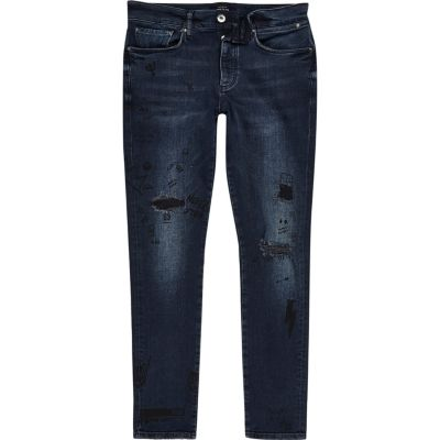 Sid donkerblauwe wash doodle skinny-fit jeans