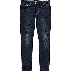 Dark blue wash doodle skinny fit Sid jeans