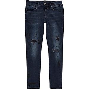 Sid – Jean skinny bleu foncé délavé avec gribouillage