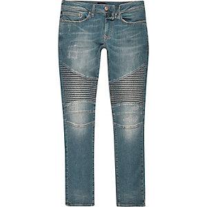 Mid blue wash biker super skinny Danny jeans
