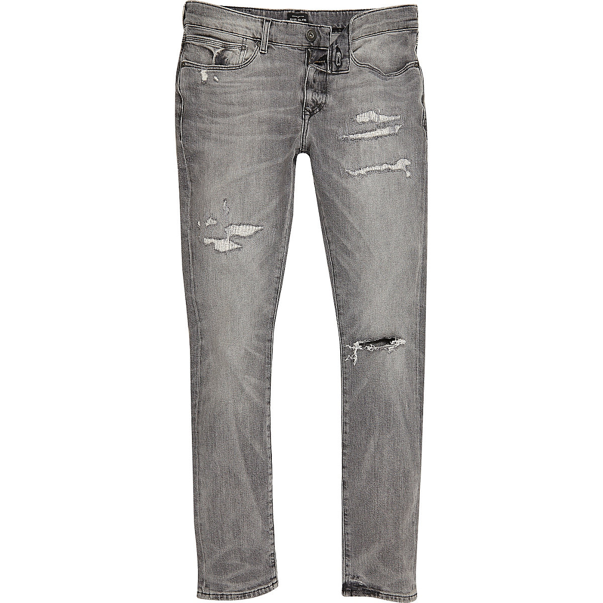 Grey distressed Danny super skinny jeans