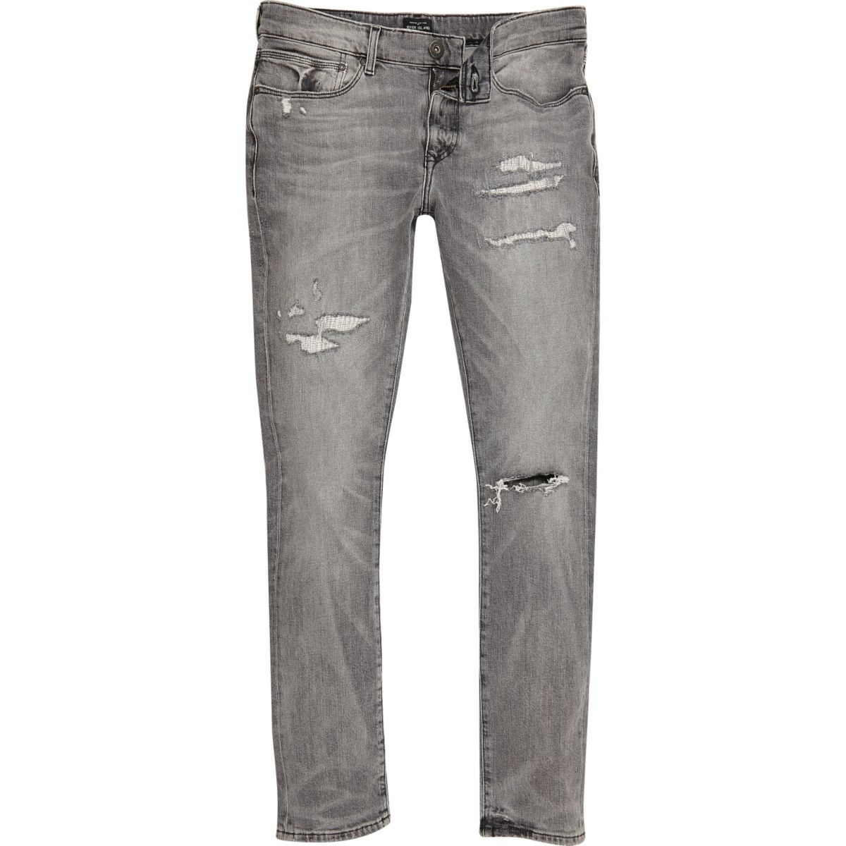 Grey distressed Danny super skinny jeans
