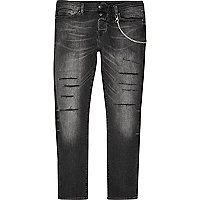 Black wash Sid cigarette skinny jeans