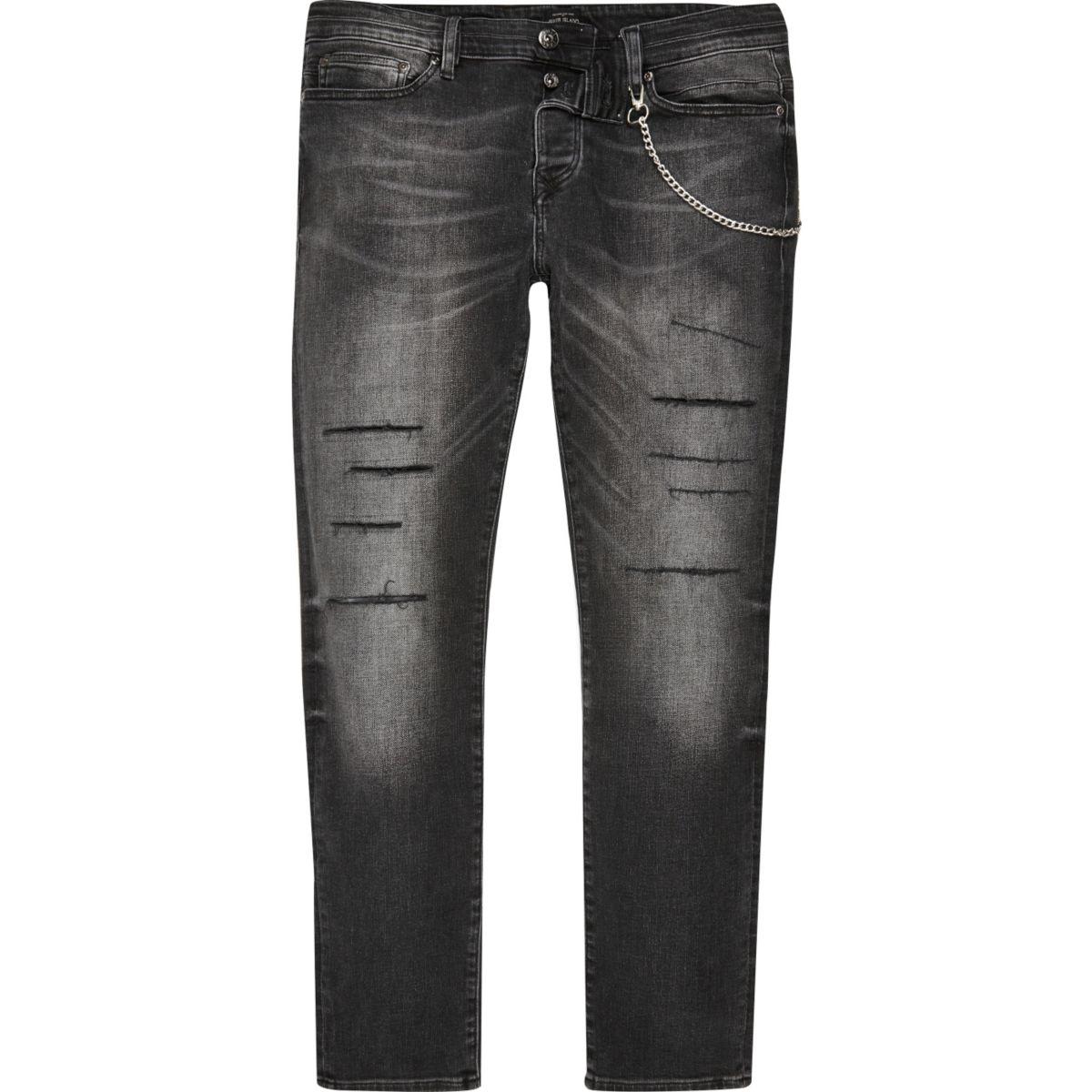Sid - Zwarte wash smaltoelopende skinny jeans