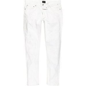 Danny - Witte distressed skinny jeans