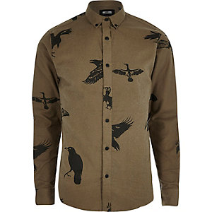 Brown bird print casual shirt