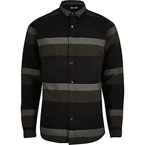 Black stripe print casual shirt