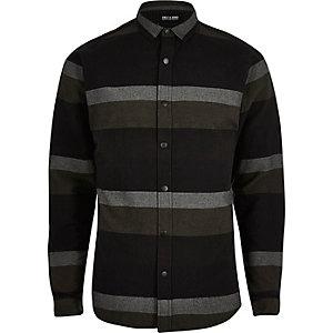Only & Sons zwart casual gestreept overhemd