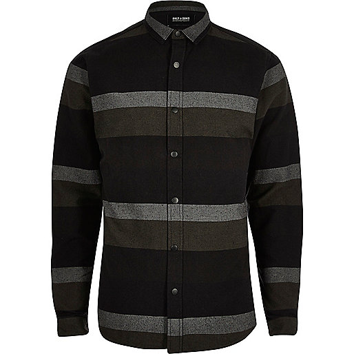 Black Only & Sons stripe print casual shirt