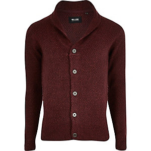 Only & Sons red chunky knit cardigan