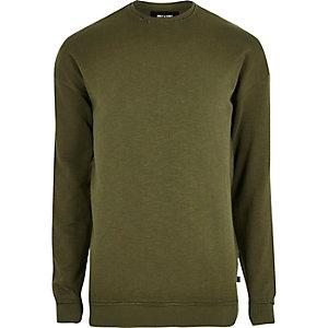 Khaki green slub distressed sweatshirt