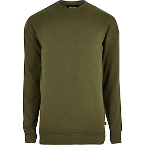 Khaki green slub distressed sweatshirt