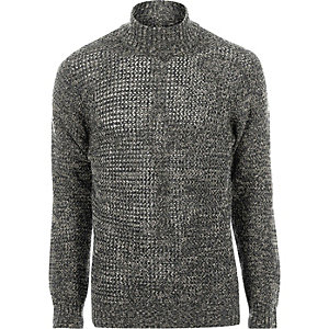 Green Only & Sons twist knit roll neck jumper