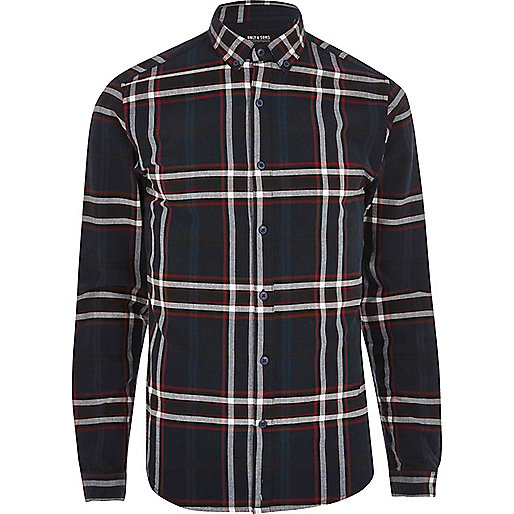 Navy Only & Sons check long sleeve shirt