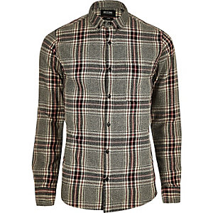 Grey and red check shirt