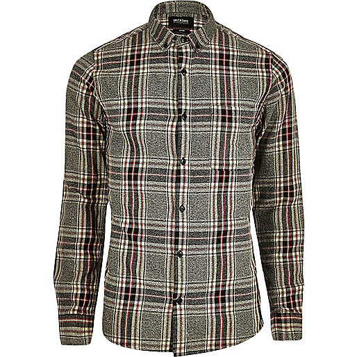 Grey Only Sons And Red Check Shirt Long Sleeve Shirts