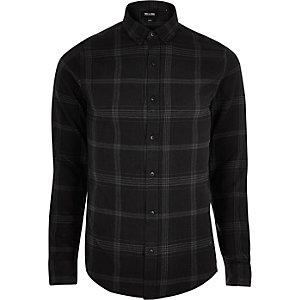 Only & Sons – Graues, kariertes T-Shirt mit langen Ärmeln