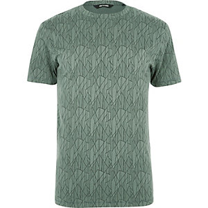 Only & Sons – Grünes T-Shirt mit Muster
