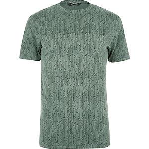 T-shirt Only & Sons vert à imprimé fracturé