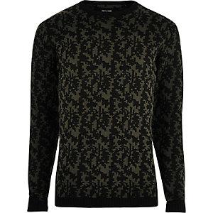 Zwarte pullover met abstracte print