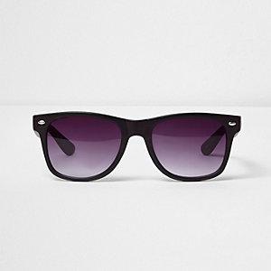 Brown wood retro square sunglasses