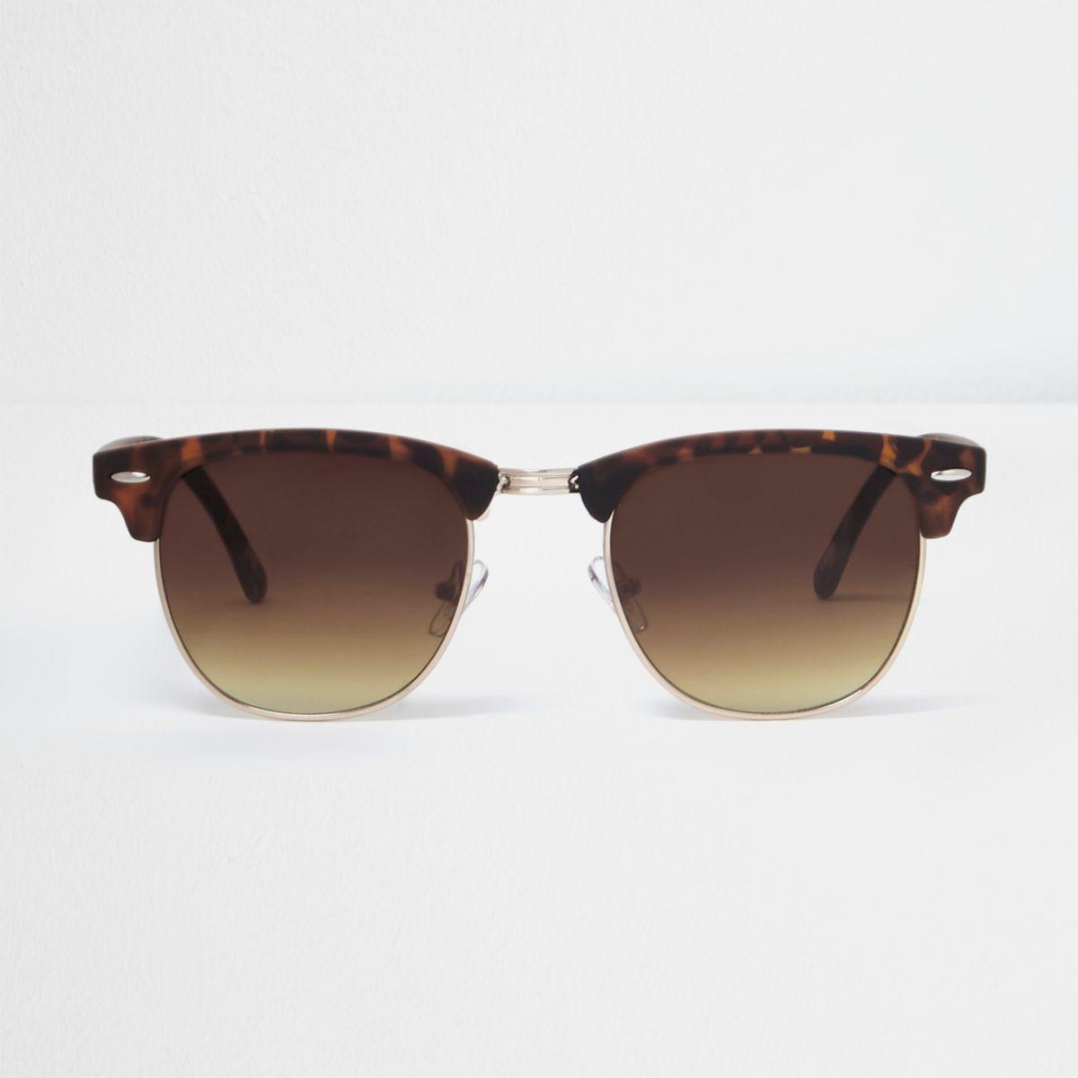 Braune Schildpatt-Retrosonnenbrille