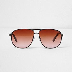 Braune Pilotensonnenbrille mit orangen Gläsern