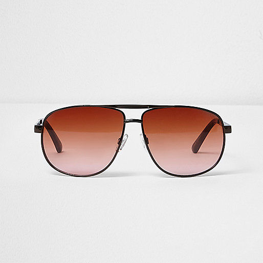 Brown orange lens aviator sunglasses