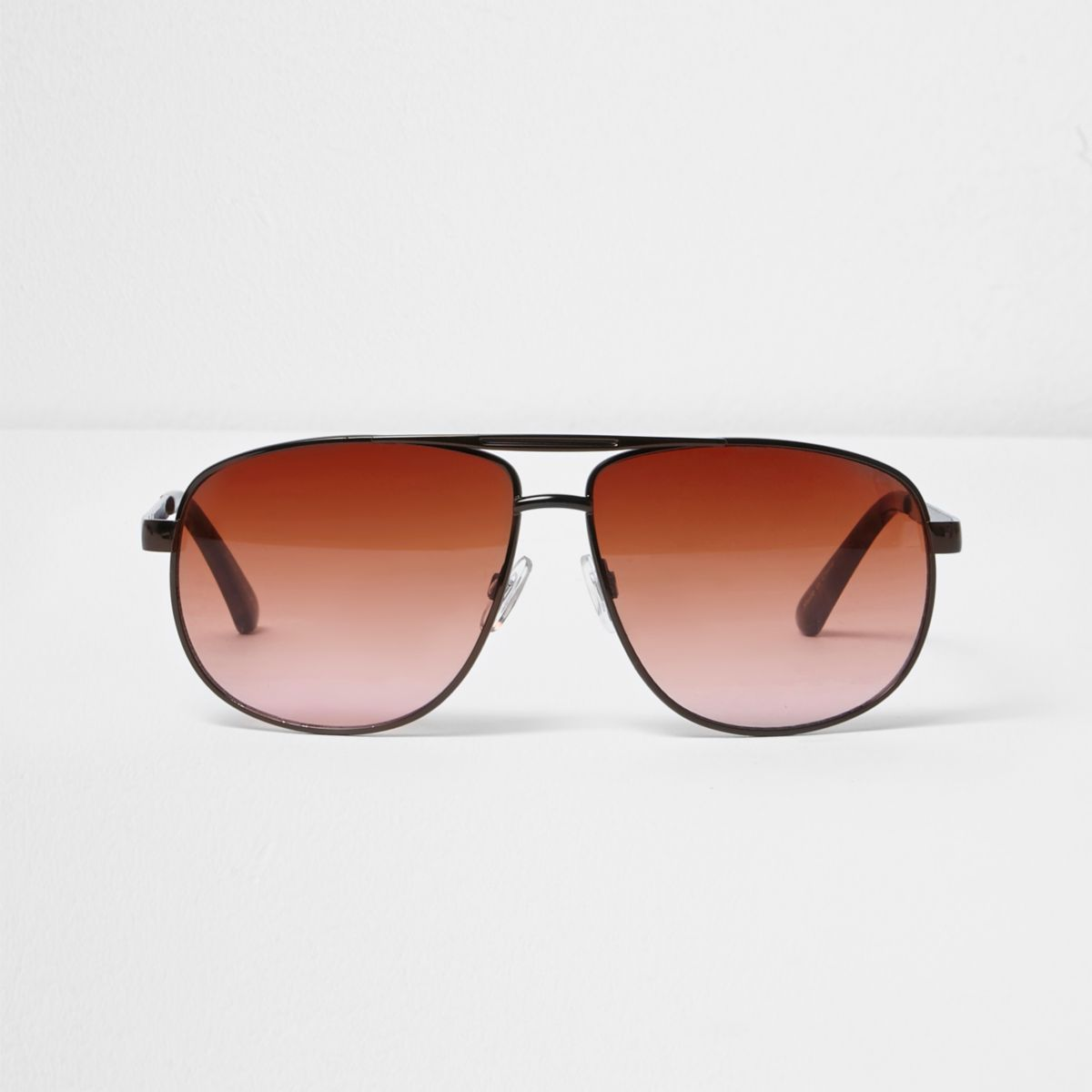 Brown orange lens aviator sunglasses