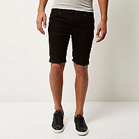 Schwarze Skinny Stretch Fit Jeansshorts