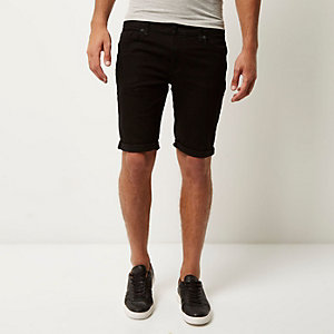 Black skinny stretch fit denim shorts