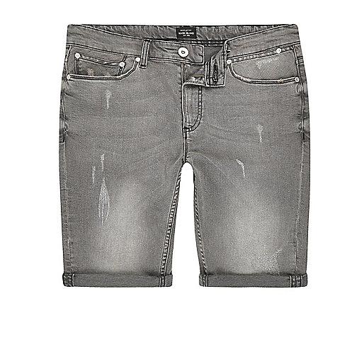 Light grey skinny fit distressed shorts