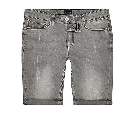 Light grey skinny fit distressed shorts