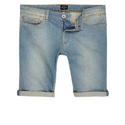 Light blue wash vervaagde denim short