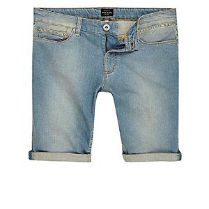 Light blue wash faded denim shorts