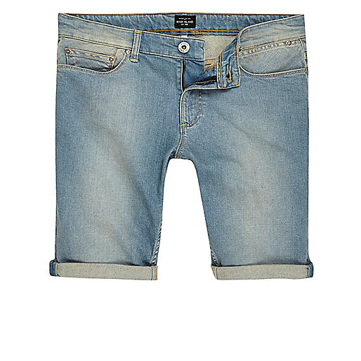 Light blue wash faded denim shorts