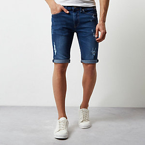 Mid blue wash skinny-fit ripped denim short
