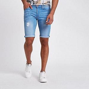 Short en jean skinny bleu clair déchiré