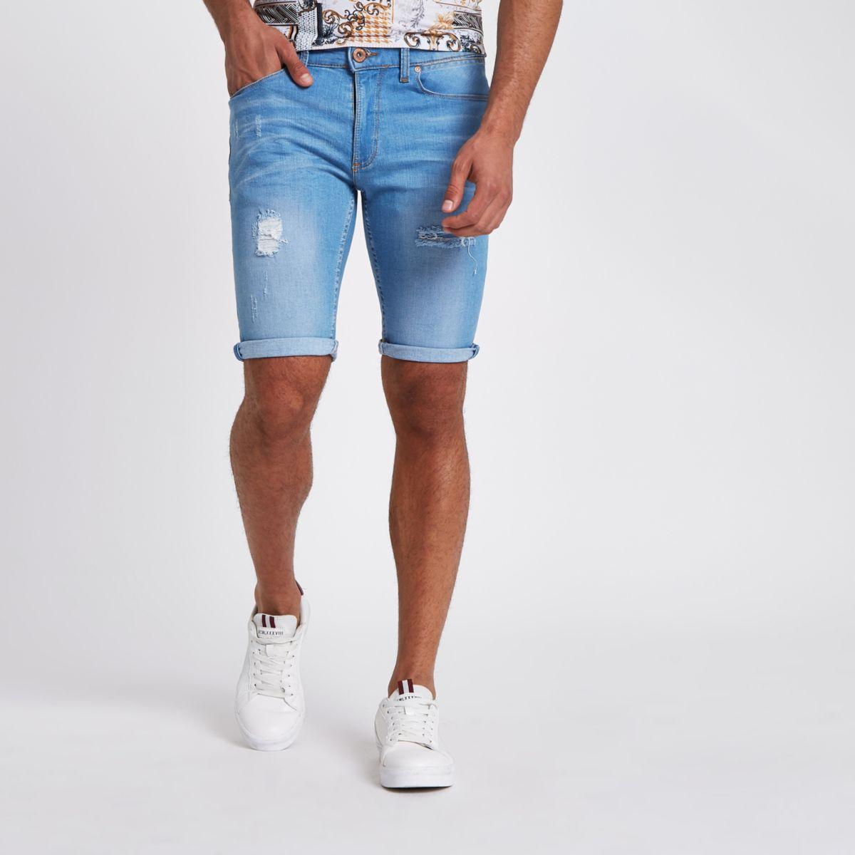Light blue wash skinny ripped denim shorts
