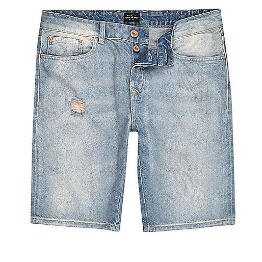 Light blue wash denim shorts