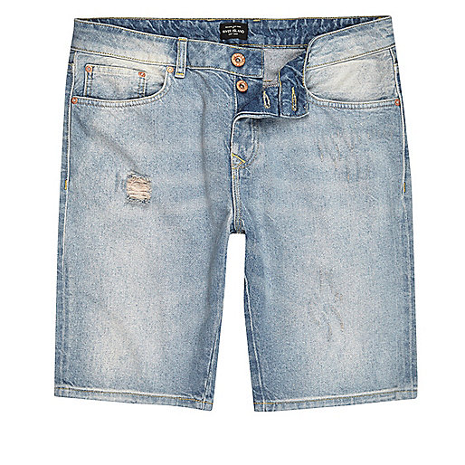 Light blue wash denim shorts