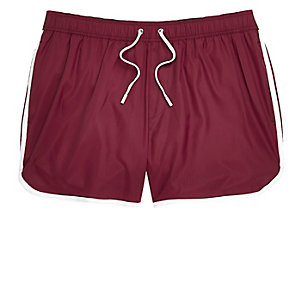Dark red short swim trunks