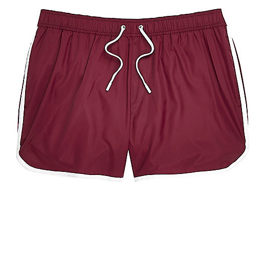 Dark red runner style swim shorts
