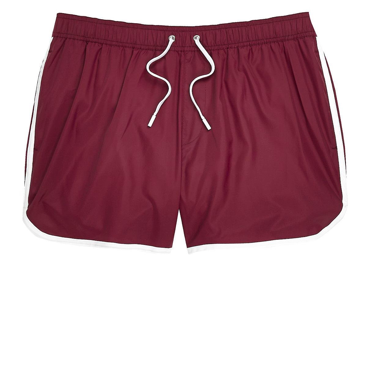Dark red short swim trunks