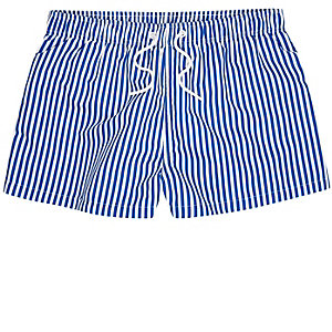 Navy stripe swim trunks