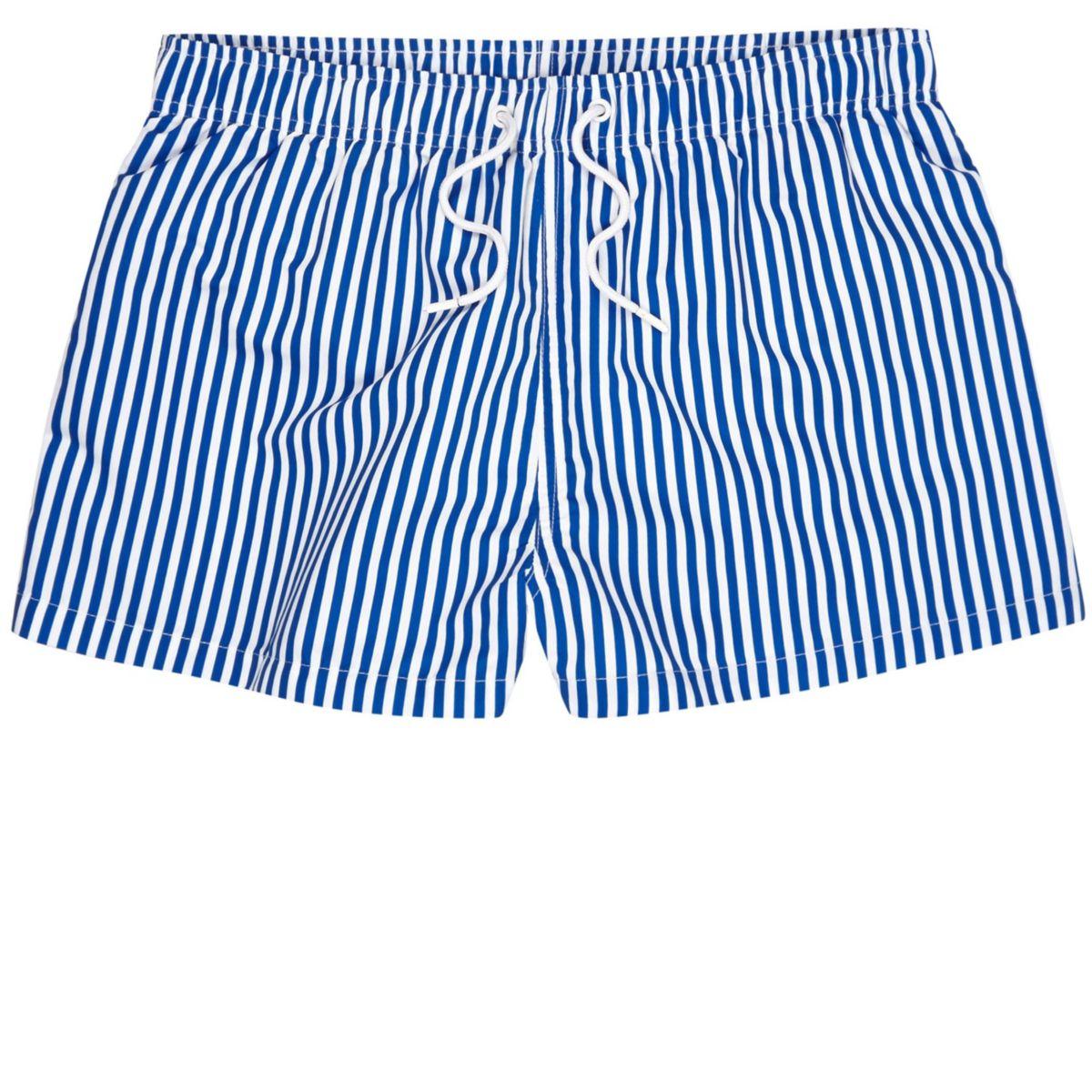 Navy stripe swim trunks